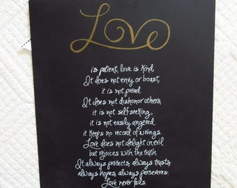 Wedding Gift Anniversary Gift Love is Patient Wall Art Christian Home Decor I Corinthians 13
