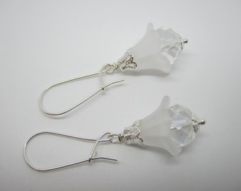 Crystal Drop Earrings on Sterling Silver Earring Wires, Frosted White Petal Clear Crystal Bead, Wedding Bridesmaids Jewelry Crystal Earrings
