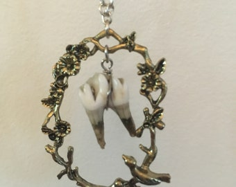 Deer tooth and antique frame necklace