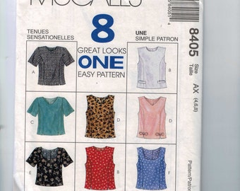Misses Sewing Pattern McCalls 8405 Misses Tops Easy Princess Seam Shell Size 16 18 20  UNCUT