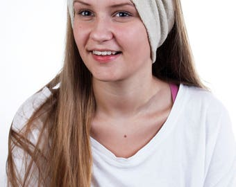 Beauty Routine Turban Head Wrap in Taupe Terry Cloth