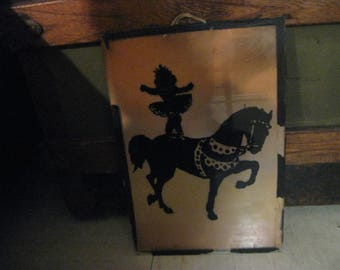 very ANTIQUE CIRCUS act silhouette horse with ballerina  standing on in the ring