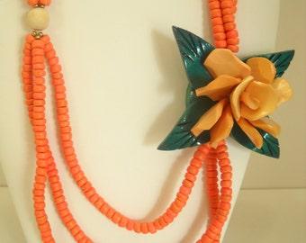 Vintage Triple Strands Flower Necklace (6175) Summery!!
