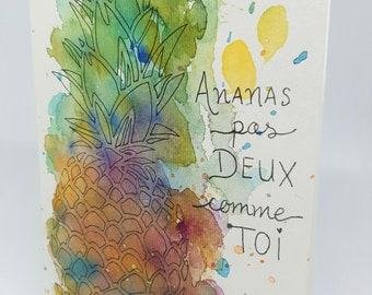 Pineapple greeting card no two like you, fun, watercolor