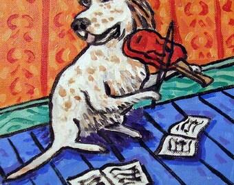 English Setter Playing the Violin Dog Art Tile Coaster Gift JSCHMETZ abstract modern pop folk art