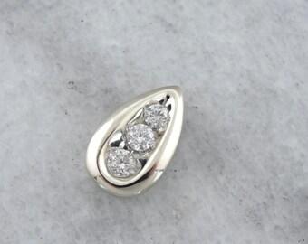 Diamond Slide Pendant, Tear Drop Shape Pendant in White Gold H9TN41-P