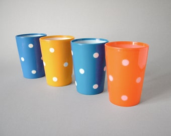 Vintage East German plastic tumbler glasses cup polka dots GDR design classic goblet white dots orange yellow blue childs mug tea cup