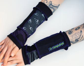 Arm Warmers - Purple Patchwork - with skulls and zebra print
