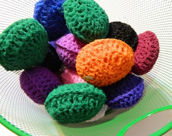 Pot Scrubber gift Basket fillers: Set of 8 Nylon Crocheted stuffed Scouring Pads for multiple surfaces, nonstick safe