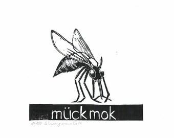 MÜCKMOCK black and white linocut on 300 gr. acid-free cardboard, 2014, Edition: 100 pieces