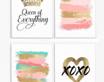 70% off. Gold foil. Bundle fashion. Gold brush stroke. Pink and gold print. Gold heart. Queen of everything. Brush strokes abstract prints