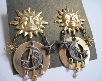 Vintage Gold Sun And Moon Dangles