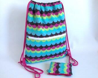OFERTA Mochila, mochila saco, mochila joven, regalo joven, camuflaje, ondas, multicolor, bolsa playa, bolsa gimnasio, monedero, cordón, rosa