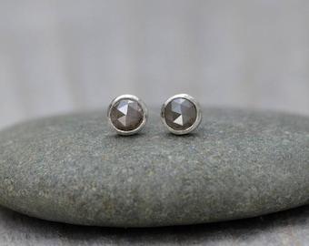 Rose Cut Diamond Earring Studs, Total 0.35ct Diamonds, Olive Color Diamond Wedding Gift Handmade In England