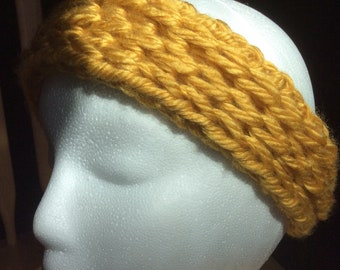 Chunky wool Ear warmers/head bands Mustard