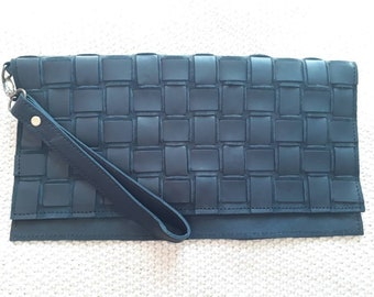 Black Leather Clutch Bag with Wrist Strap. Woven. NEW.