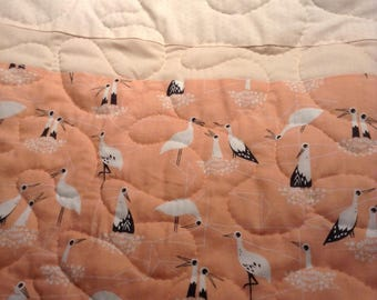 "Crib Quilt - Gender Neutral - Birds of a Feather (Peach/White) 36"" x 52"" - Contemporary/Modern - Ready to Ship"