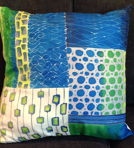 FOLLOWING TRACKS -Decorative Hand Painted Silk Pillow   - Made to Ortder