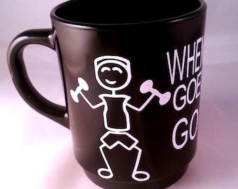 1 VINYL LIFTING MUG, lift weights, BodyBuilding custom mug, motivational mug, motivation quote, decal