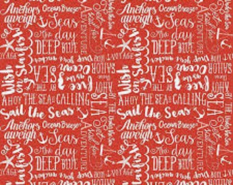 By The Sea by Dani Mogstac for Riley Blake -- Sea Story Red -- 1/2 Yard