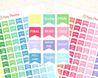 Study Printable planner stickers College Stickers Study Stickers Flags stickers Printable Planner Stickers Printable Rainbow Stickers ECLP