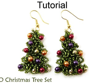 Christmas Beading Tutorials and Patterns - Beaded Earrings Necklace - Holiday Jewelry - Simple Bead Patterns - O Christmas Tree #10870