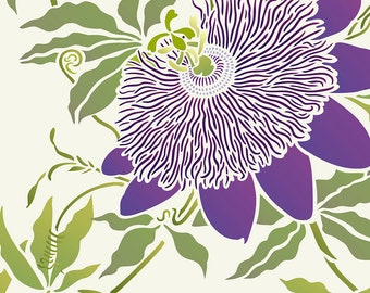 Oversize VERY LARGE Passion Flower Stencil ©