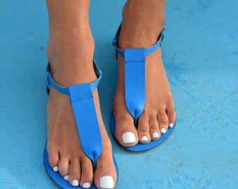Greek leather sandals, Blue sandals, T-strap sandals, Ancient Greek sandals, Handmade sandals ''Erin'' (many colors)