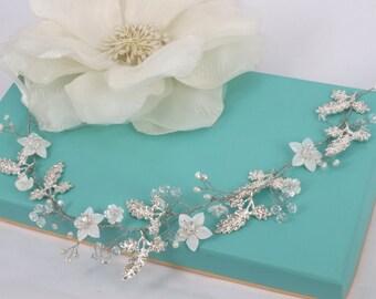 Natasha - Vintage style  Mother Pearl Flower, Rhinestone Leaves, Crystal Bridal Hair Vine