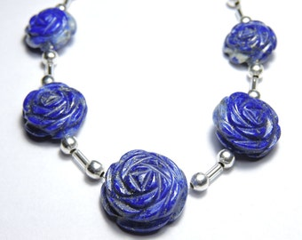 5 Pcs Very Attractive Natural Undyed Afghanistan Lapis Lazuli Hand Carved Rose Flower Beads Size 13X13-17X17 MM