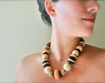 Collier de déclaration tribal boho Vintage - bijoux en bois plage Bohème