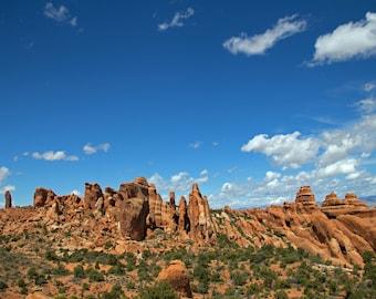 Arches National Park, Blue Sky, Rock Formation Horizon, Desert Landscape, Utah Print, Desert Print, Moab, American Southwest, Southwestern