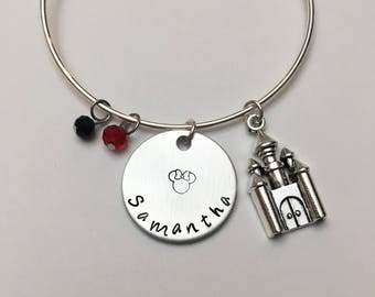 Personalized Name Mickey Mouse Minnie Disney Castle Inspired Stamped Adjustable Charm Bangle Bracelet