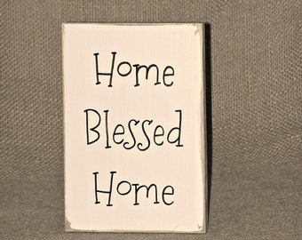 Home Blessed Home Quote, Rustic Wood Home Decor Sign, Distressed Country Cottage Chic, Religious Verse, Sweet Gift Blessing Plaque Spring