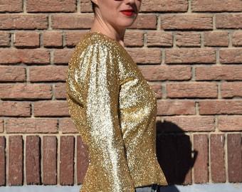 Vintage Gold Tinsle Long Sleeved Shirt
