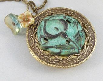 Sage Lily,Brass Locket,Patina Locket,Flower,Woodland,Lily,Green,Teal,Aqua,Patina,Virdigris. Handmade jewelery by valleygirldesigns on Etsy.