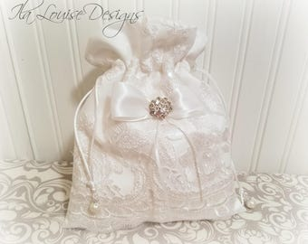 White Dollar Dance Bag, Wedding Money Bag, Bridal Bag, Bridal Purse, Wedding Money Purse, Jewelry Pouch