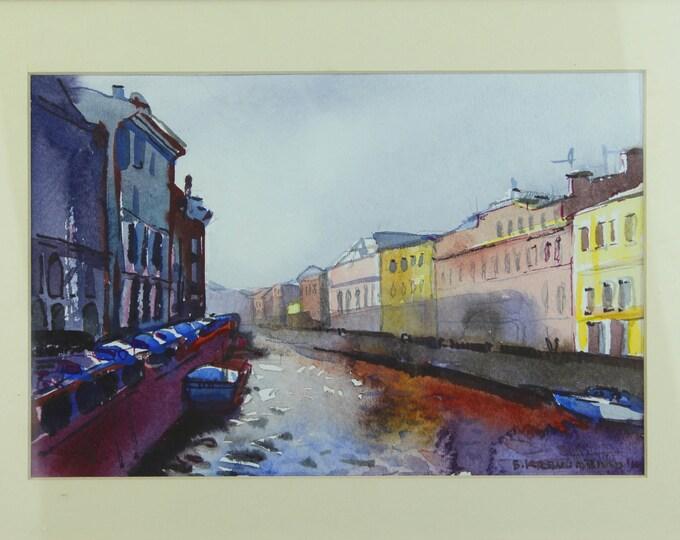 "SALE Beach Decor, Original, Water Color painting ""S.Petersburg"""