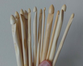 New 12pcs Bamboo Wood Crochet Hooks,Weave Craft ,Crocheted Tools,Size 3-10mm
