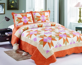 Queen Size Quilt Set, Modern Quilt, Orange Quilt Bedspread, Bed Cover, Quilted Bedding Blankets, Patchwork, Quilted Pillow Sham