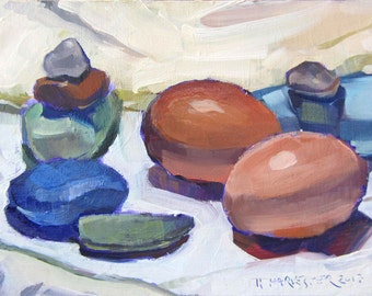 Pebbles and Eggs original oil painting