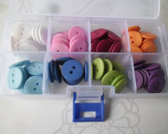 x 1 box of 80 mixed round resin buttons plain 8 colors 18 mm 2 holes