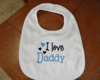 Embroidered Baby Bib - I Love Daddy - Boy