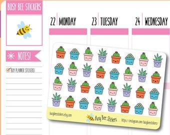 Succulent / Cactus Planner Stickers, Kawaii Planner Stickers, Cacti, Succulents, Happy Planner Stickers, Erin Condren Stickers