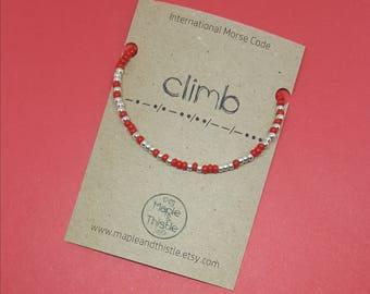 Gift for rock climber | Present for climber | Climb | Climber birthday | Climber Christmas | Morse code bracelet | Climb bracelet | Climbing