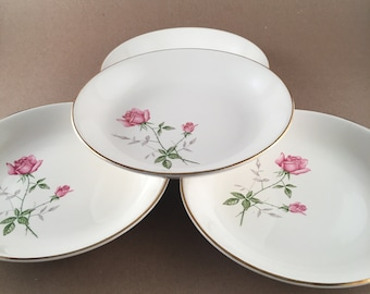 Vintage Scio Dorset Rose Set of 4 Coupe Bowls /Fine China Dinnerware/Pink Roses Green & Pink Leaves Gold Trim