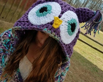 Hooded Owl Blanket, Owl Blanket, Owl, Blanket, Hooded Blanket, Crochet Owl Blanket, Owl Hood Blanket, Crochet Blanket, Owl Hood, Crochet