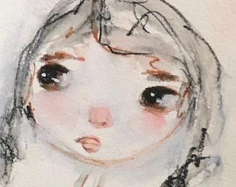 Chic Primitive Whimsical Face,  Original Art, Mixed Media Whimsical Face, Black & white Art, Water Color, Mixed Media Girl, Girls Room Art