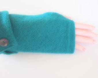 Fingerless Gloves Teal Green Wool Womens One Size Fits Most