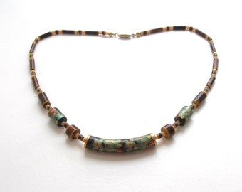 Vintage, necklace, hand decorated,bib necklace,brown